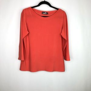 Sympli made in Canana Orange 3/4 Sleeve Blouse 16